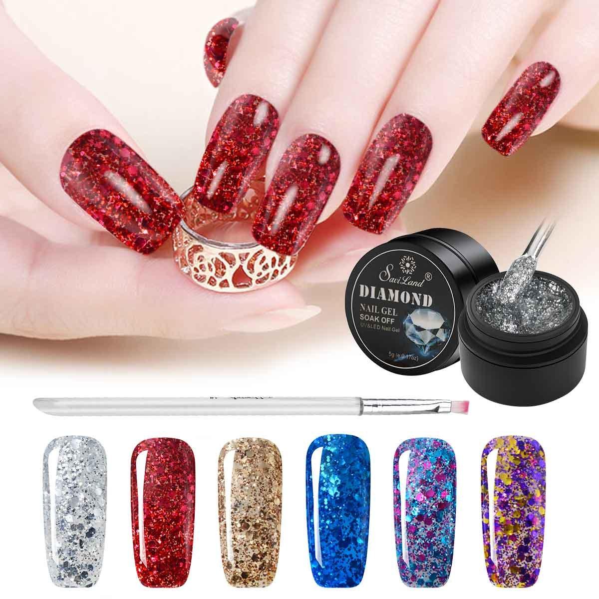 Esmalte de uñas de 6 colores con purpurina + lápiz de pintura, Saviland Soak Off Diamond Gel esmalte de uñas Set: Amazon.es: Belleza