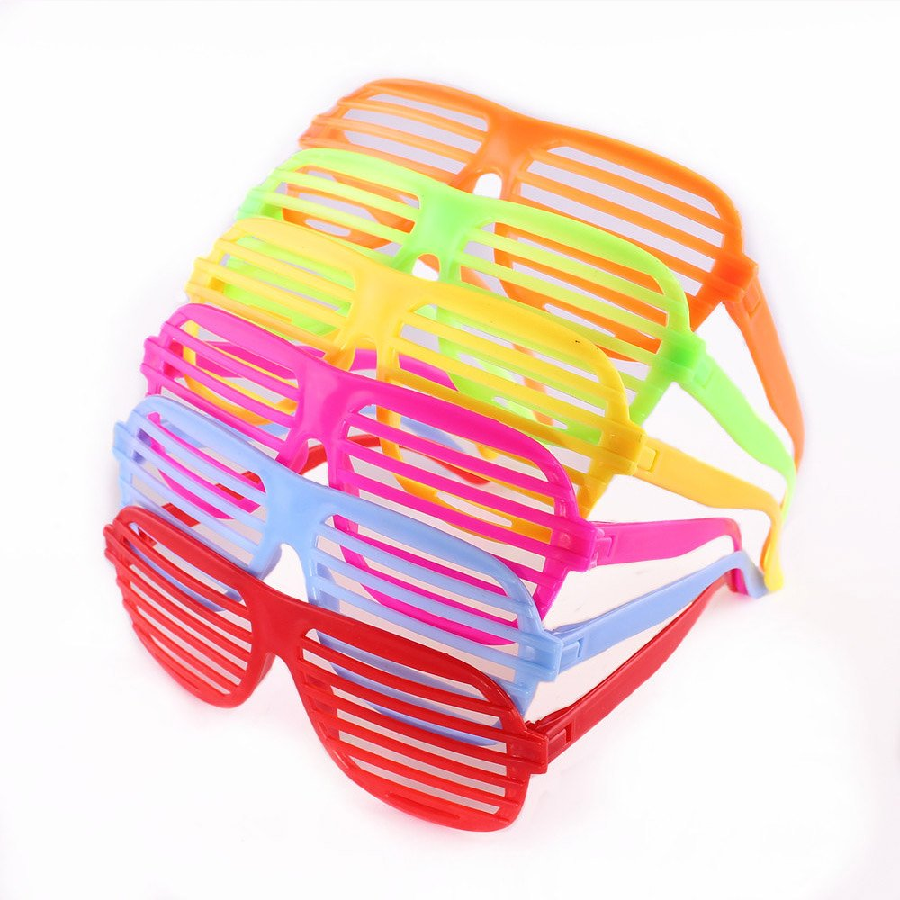80's Slotted Toy Sunglasses Party Favors Costume, Pack of 12,Random Color Tong Yue