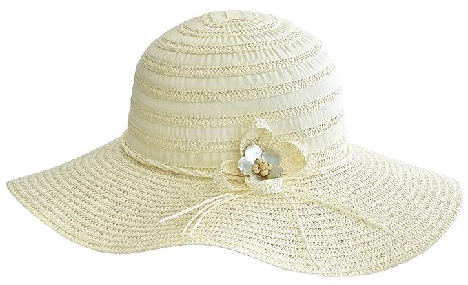 7d04b5c9ee6cb0 Breitkrempiger Damen Hut Sonnenhut Strohhut mit Stoffstreifen und Blüte  (creme)