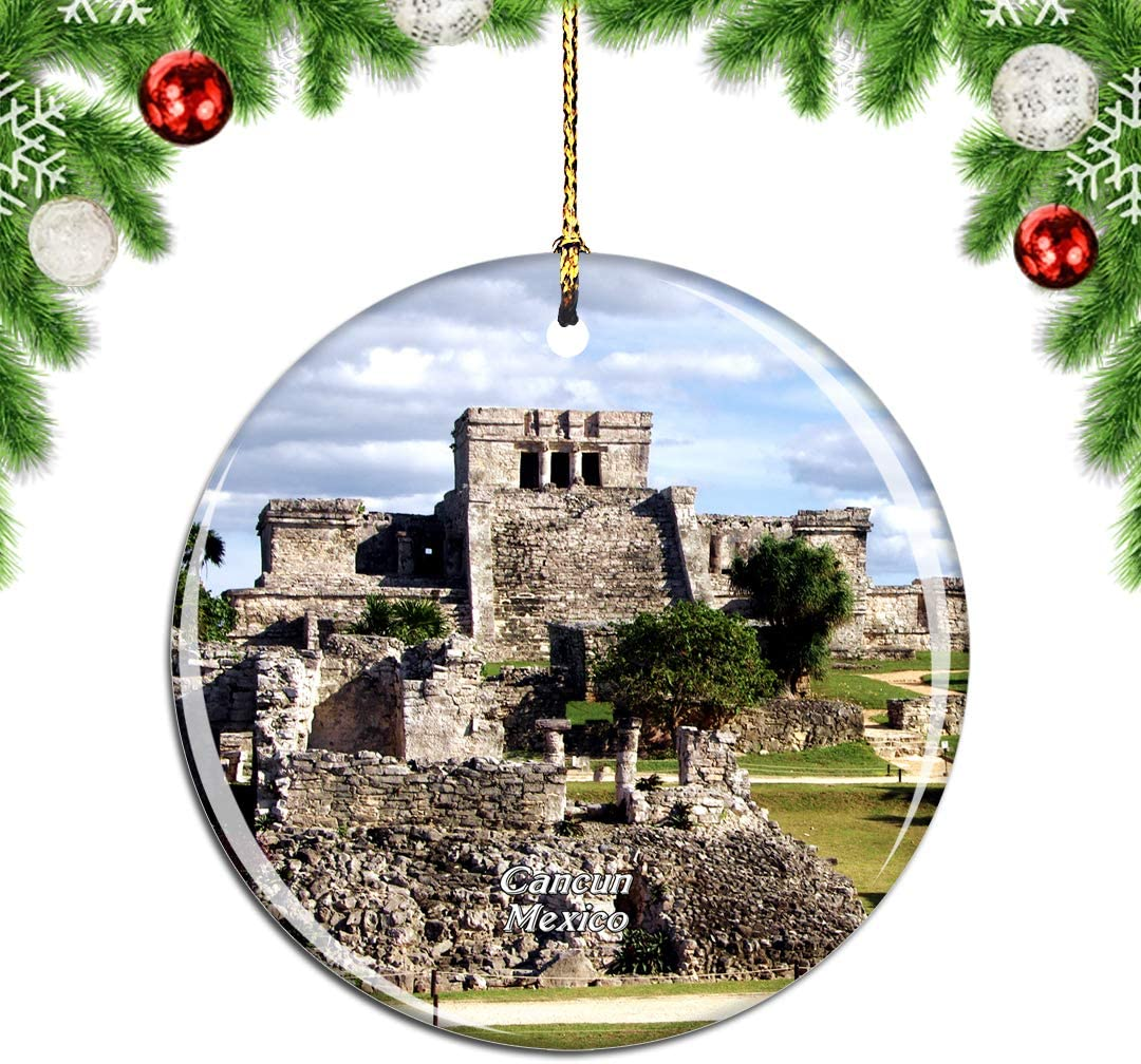 Weekino Mexico Tulum Mayan Ruins Cancun Christmas Xmas Tree Ornament Decoration Hanging Pendant Decor City Travel Souvenir Collection Double Sided Porcelain 2.85 Inch