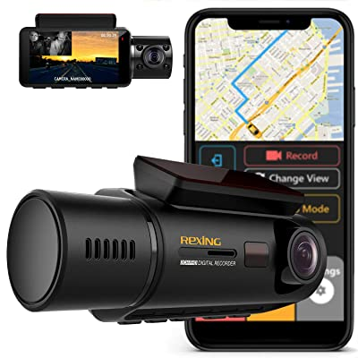 "Rexing V3 Dual Camera Front and Inside Cabin Infrared Night Vision Full HD 1080p WiFi Car Taxi Dash Cam with Built-in GPS, Supercapacitor, 2.7"" LCD Screen, Parking Monitor, Mobile App: Car Electronics"