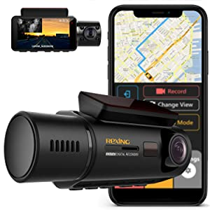 "Rexing V3 Dual Camera Front and Inside Cabin Infrared Night Vision Full HD 1080p WiFi Car Taxi Dash Cam with Built-in GPS, Supercapacitor, 2.7"" LCD Screen, Parking Monitor, Mobile App"