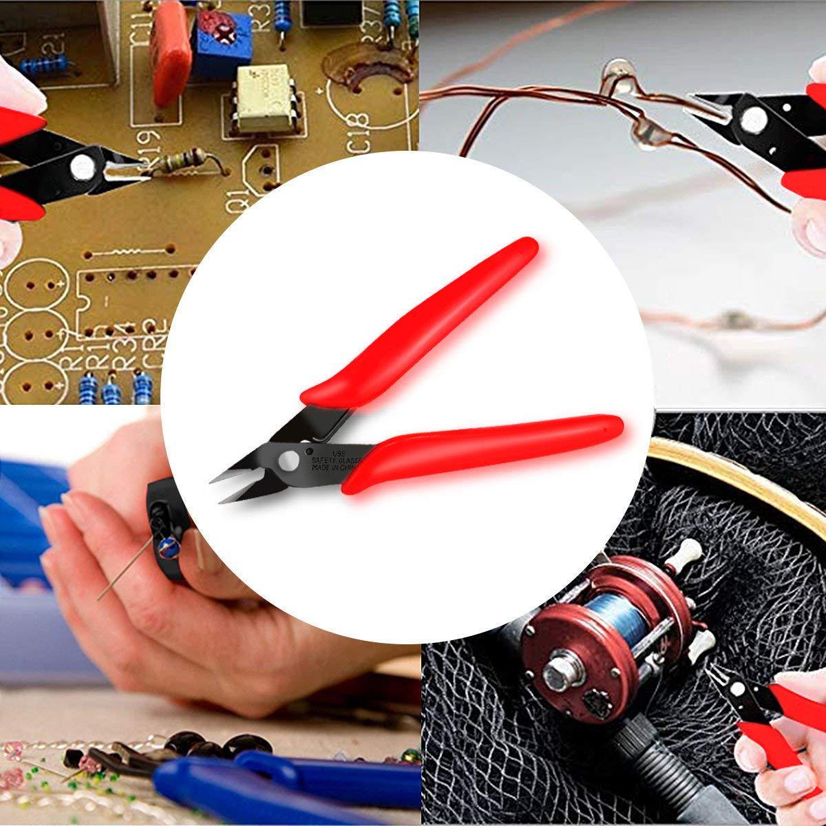 rouge Boenfu fil /électrique coupe-fil mini pince coupante c/ôt/é diagonal coupe affleurant bijoux Craft pince affleurante paquet de 2