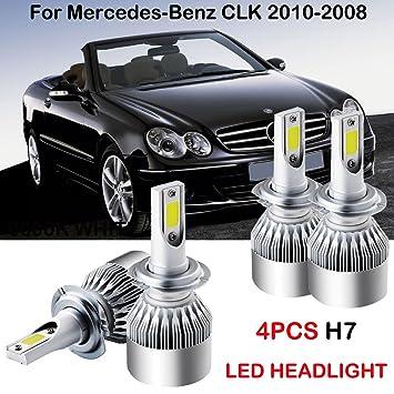H7 LED Faros Bombillas de Kits para Mercedes Benz CLK 2010 - 2008 Hi/bajo Beam 6000 K 4 piezas: Amazon.es: Coche y moto