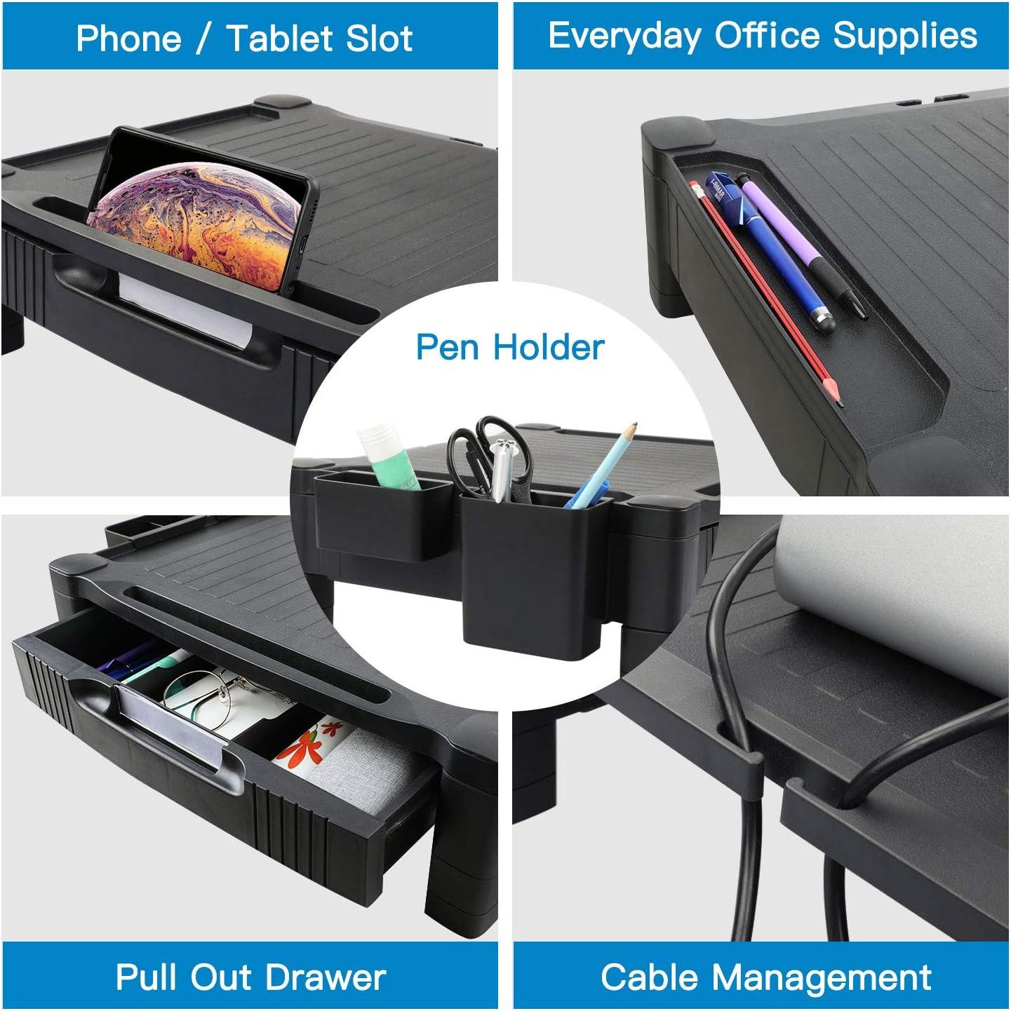 Drucker Computer Beamer bis zu 20 kg 3 h/öhenverstellbare Bildschirmerh/öhung mit Gitterlochplattform f/ür Laptop iMac PC HUANUO Monitorst/änder