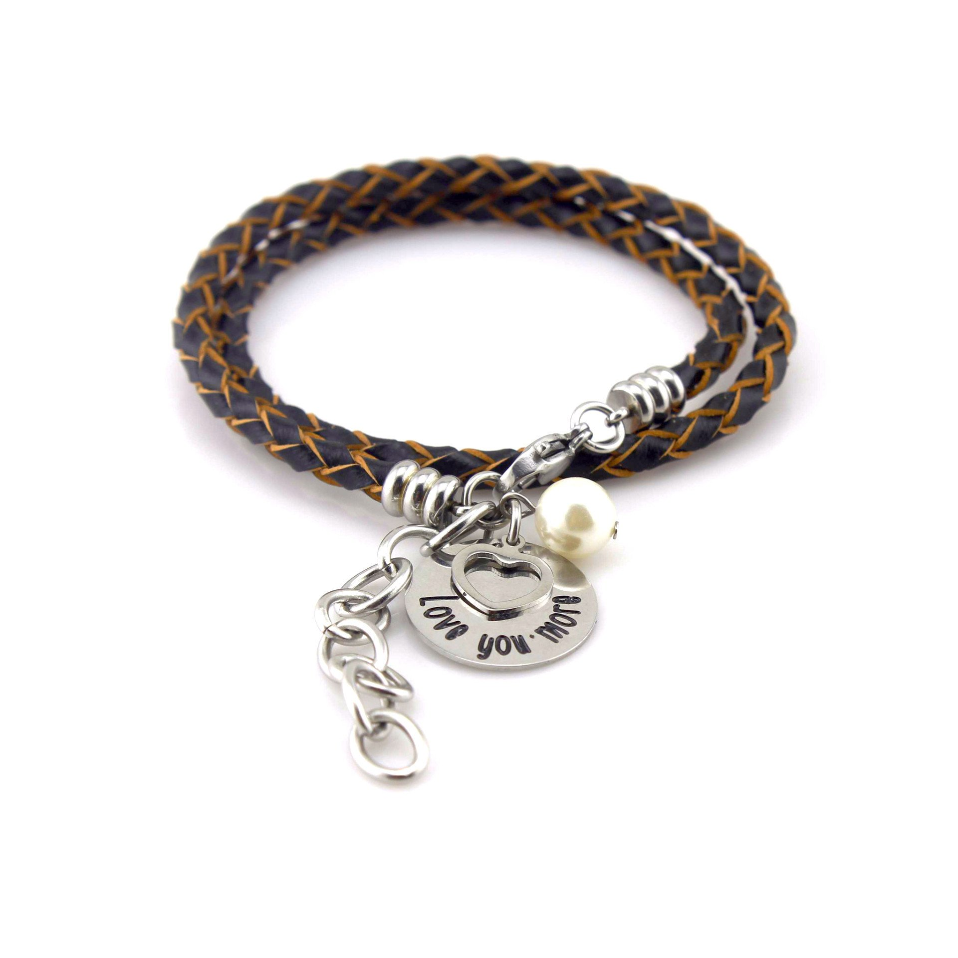 Inspirational Leather Bracelet I Love You More Message - Stainless Steel Heart Pendant with Fresh Water Pearl