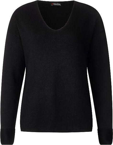 Street One Pullover V-Ausschnitt in Schwarz
