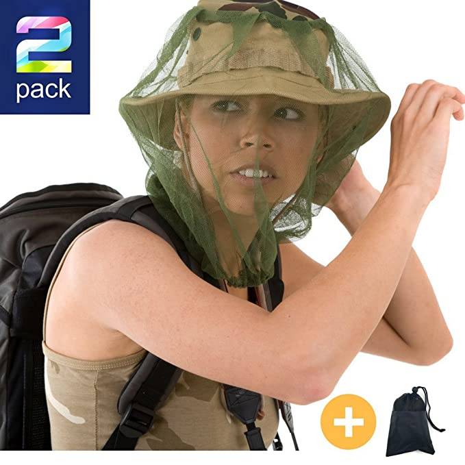 Mosquito Head Net By Magen Brands: A Pack Of 2 Outdoor Protective Nets In A Carrying Gift Bag – Durable, Lightweight Netting With A Soft Grid – Protection From Insects, Mosquitos, Bugs And Diseases