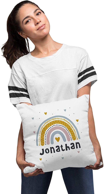 SpecialMe/® Kissen-Bezug Kinder Regenbogen mit Namen Herz Wunschname Namenskissen Kinder Baby Jungen wei/ß 40cm x 40cm