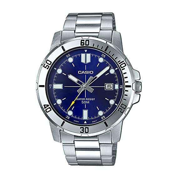 2696a69d5e15 Casio MTP-VD01D-2EV Men s Enticer Stainless Steel Blue Dial Casual Analog  Sporty Watch