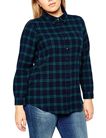 518b3c658de Lingswallow Womens Plus Size Plaid Polo Long Sleeve Vintage T Shirt Blouse  Green at Amazon Women s Clothing store