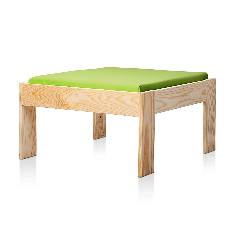 SUENOSZZZ - Sofa Jardin de Madera de Pino Color Natural, MEDITERRANEO Mod. chaiselonge, Sillon cojín Polipiel Color Pistacho. Muebles Jardin Exterior. ...