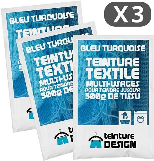 Set de 3 bolsas de tinte textil – Azul Turquesa – Teintures universales para ropa y telas naturales