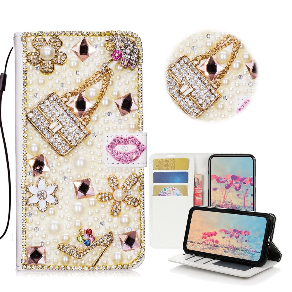 STENES Galaxy S9 Case - Stylish - 3D Handmade Crystal Girls Bags High Heel Lips Flowers Wallet Credit Card Slots Fold Media Stand Leather Cover Case for Samsung Galaxy S9 - Pink