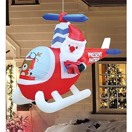 Amazon.com: Navidad Hinchable 6 Animated helicóptero Santa ...