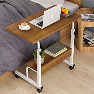 Movable Side Desk with Bookshelf Casters Student Desk Height Adjustable Computer Stand Portable Workstation Snack Table for Bed and Couch,Brown