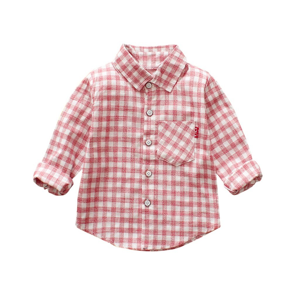 ESHOO Baby Boys Girls Long Sleeve Cotton Casual Plaid Shirt