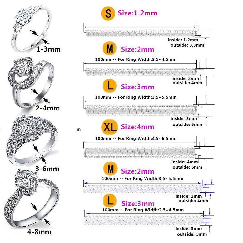 Ring Guard Coopache Invisible Ring Size Adjuster per anelli sciolti 7 misure Adatta quasi a qualsiasi anello Ring Sizer