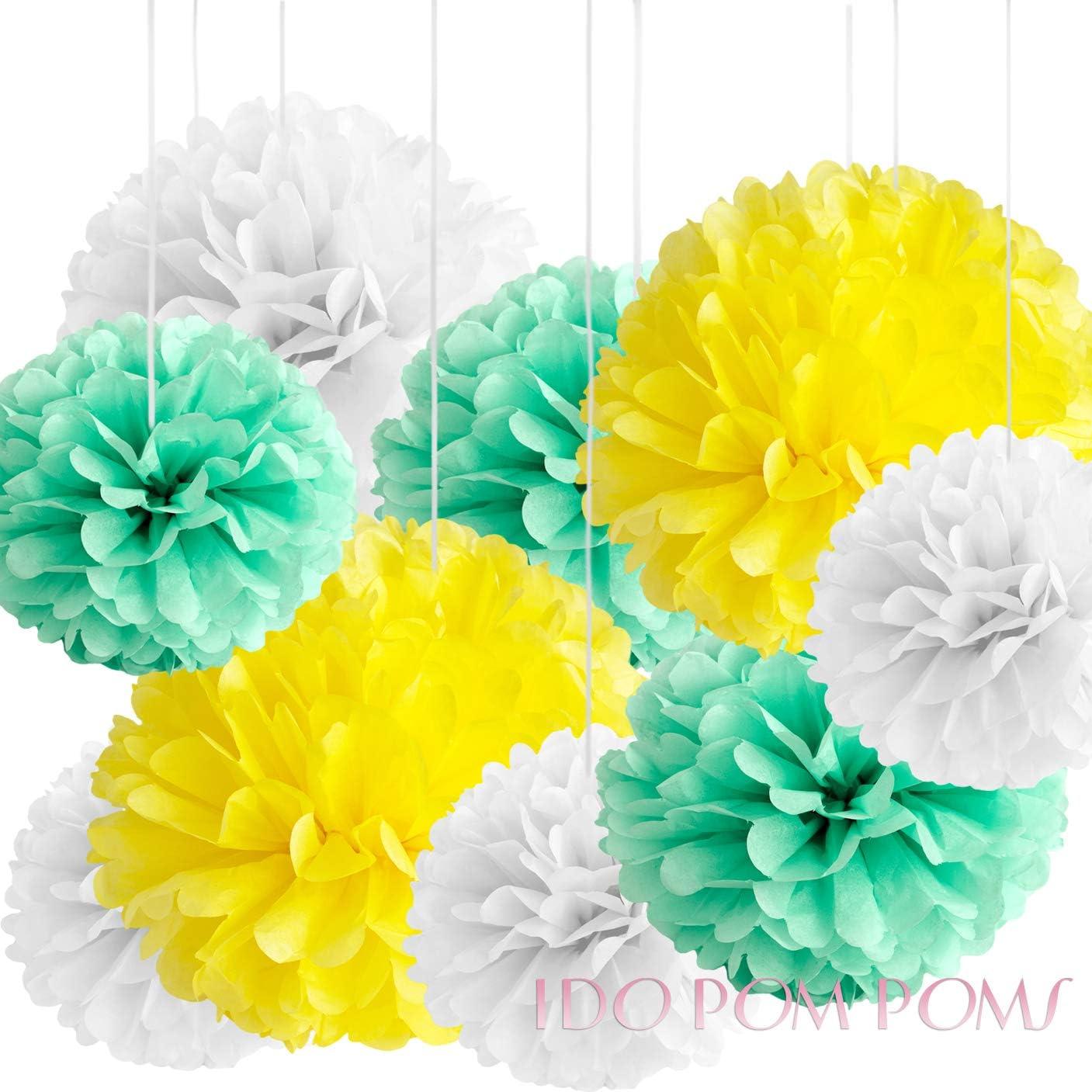12 Pack Tissue Paper Pom Poms Flower Balls Wedding Baby Shower Party Birthday Hanging Decorations White, 8, 10, 15