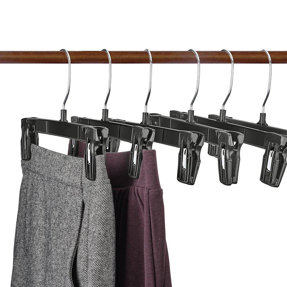 House Day Recycled Plastic Pants Hangers, 25 Pack 10'' Black Pinch Grip Hangers, Break Resistant Clip Trouser Hangers with Polished Chrome Swivel Hooks, Bottom Hangers with Clips #1 by HOUSE DAY (Image #1)