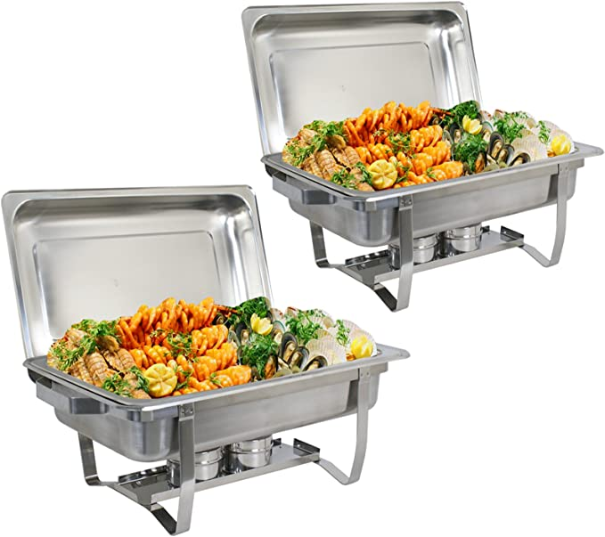 CO-Z 4 Pack Chafer Chafing Dish Sets 9L//8Q High-Grade Stainless Steel Pans Catering Full Size Silver complete Set