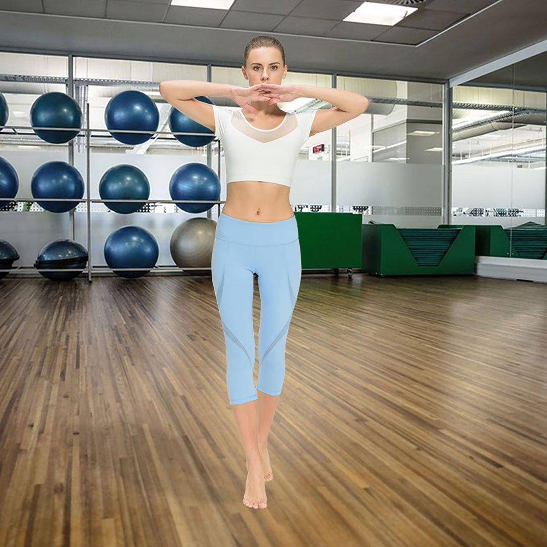 ONGASOFT Flex Yoga Leggings for Women Running Workout Pants Mesh Fitness Yoga Capris
