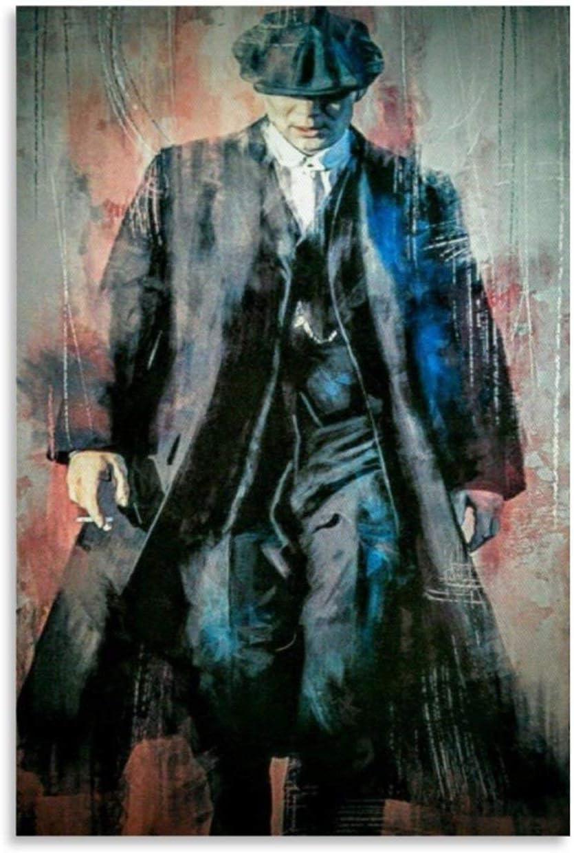 SHUOJIA Póster de película Peaky Blinders Tommy Shelby Impresión de lienzo carteles de arte de la pared Decoración para el dormitorio de la familia, el dormitorio o la sala de estar