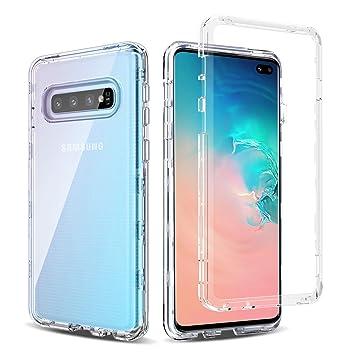 BENTOBEN Funda Samsung Galaxy S10 Plus Transparente Cristal 3 en 1 Carcasa Combinada Dura PC Bumper y Silicona TPU Suave Resistente Protectora ...