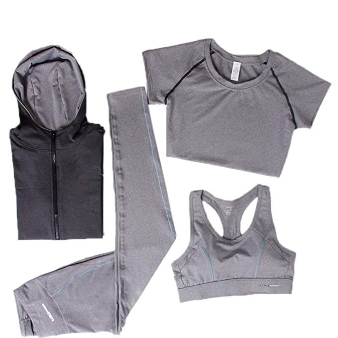 0dc62fd06 Elonglin Women's Activewear Sets 4pcs Sport Suits Fitness Yoga Running  Athletic Tracksuits Quick Drying Suits 1