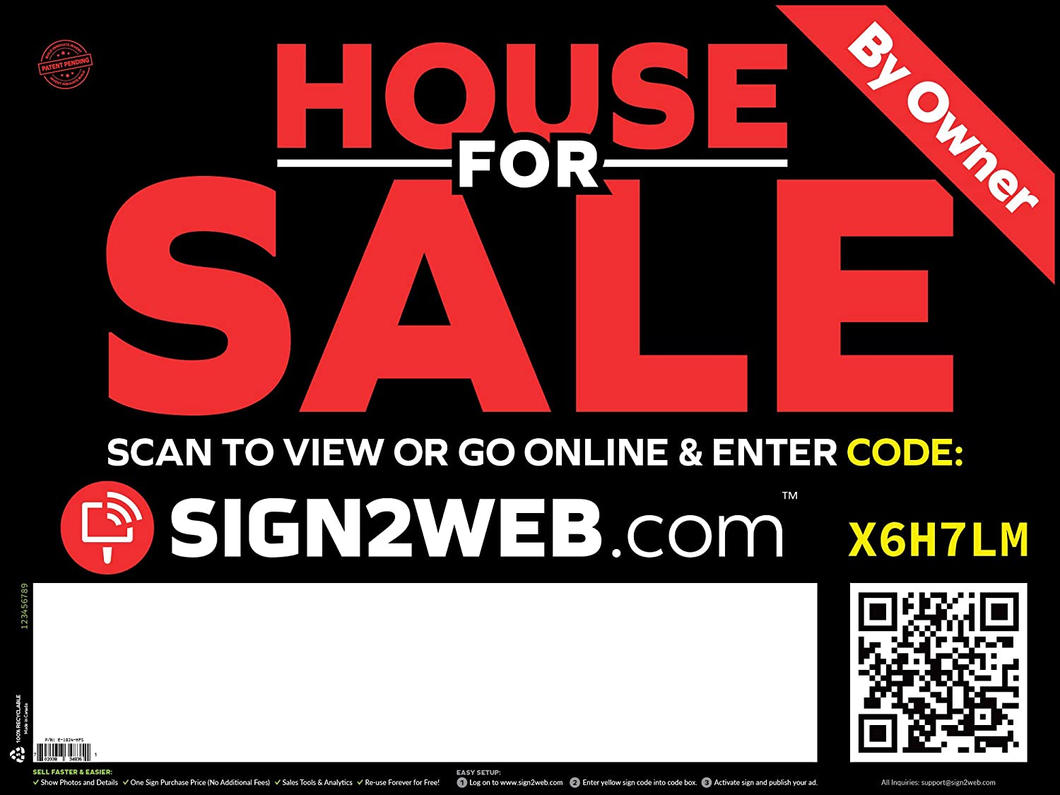 "Web Enabled Home for Sale Sign + Website - Large 24"" x 18"" Laser Printed High Visibility House for Sale by Owner Sign - Double Sided House for Sale Yard Sign - The Evolved Real Estate for Sale Sign!"