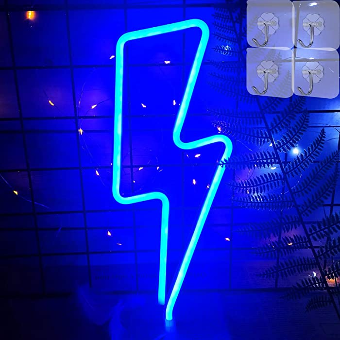 VIFULIN Blue Lightning Bolt Neon Light LED Lights for Bedroom Night Light Room Decor for Teen Girls Gifts for Teenager Boys Gaming Accessories USB/Battery Neon Signs with 4 Hooks Cool Gadgets(Blue)