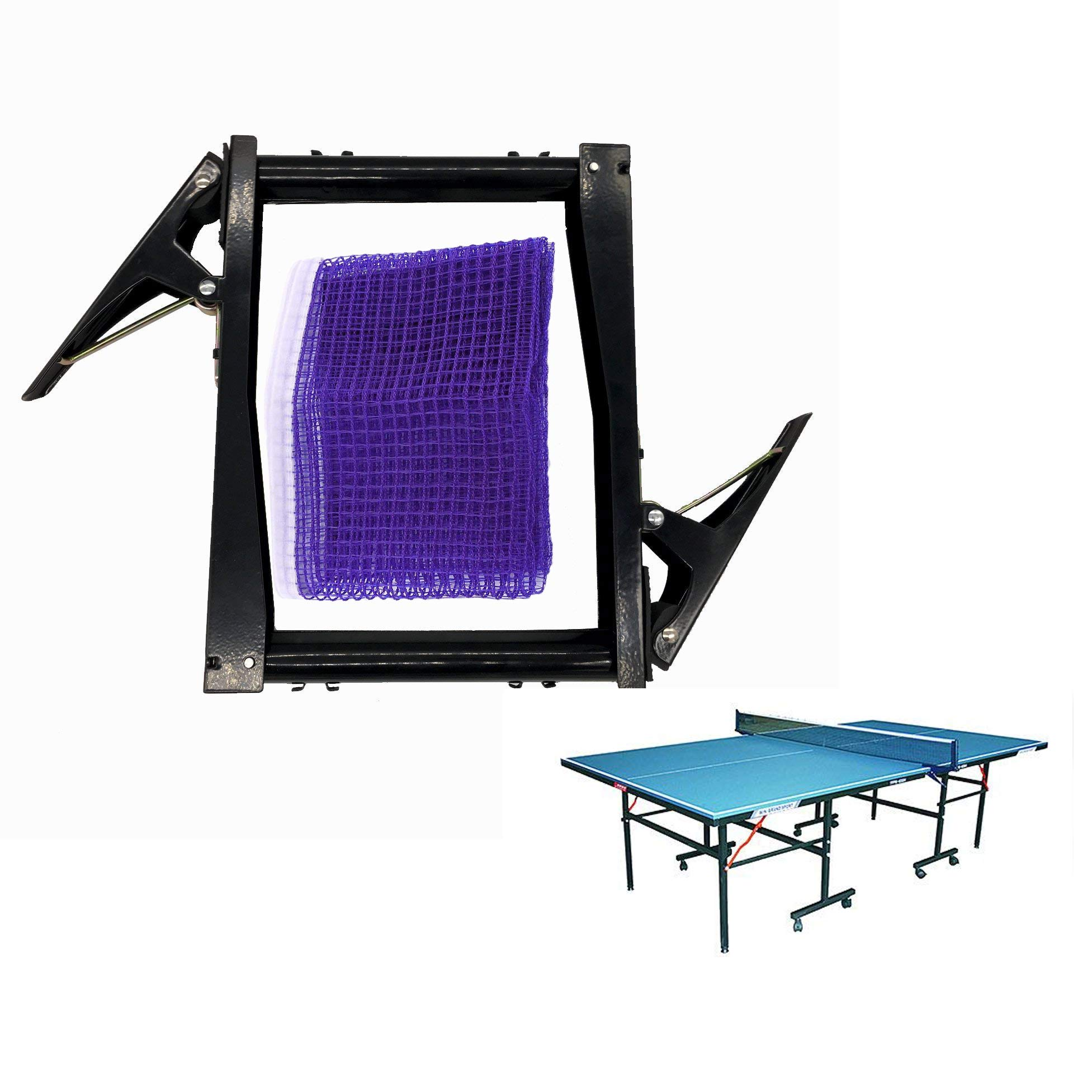 LDEXIN 176cm/70-inch Portable Nylon Table Tennis Net Set Ping Pong Net Clip Post Set Exercise Mesh Spring Activated Clip Set Easy and Fast Assemble Replacement for Indoor Outdoor