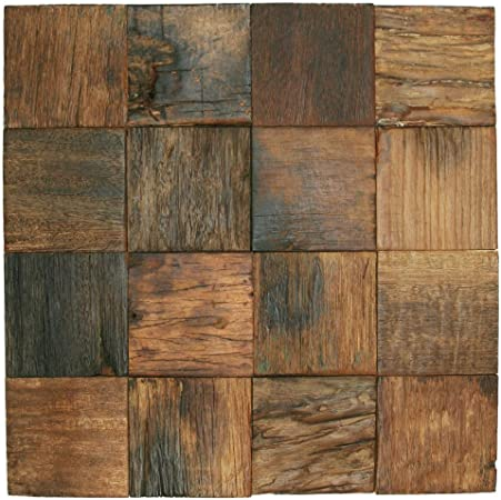Amazon Com Reclaimed Boat Wood Tile 3 X 3 1 Sq Ft Home Kitchen