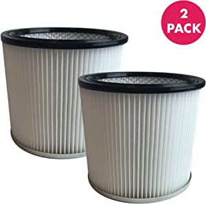 Crucial Vacuum Replacement Vacuum Filters Compatible with Shop-Vac Vacuums Cartridge Filter Parts 88-2340-02 90304 9039800 for Wet and Dry Models, 5-Gallon+ Home Vacuum Cleaners, Bulk Pack (2 Pack)