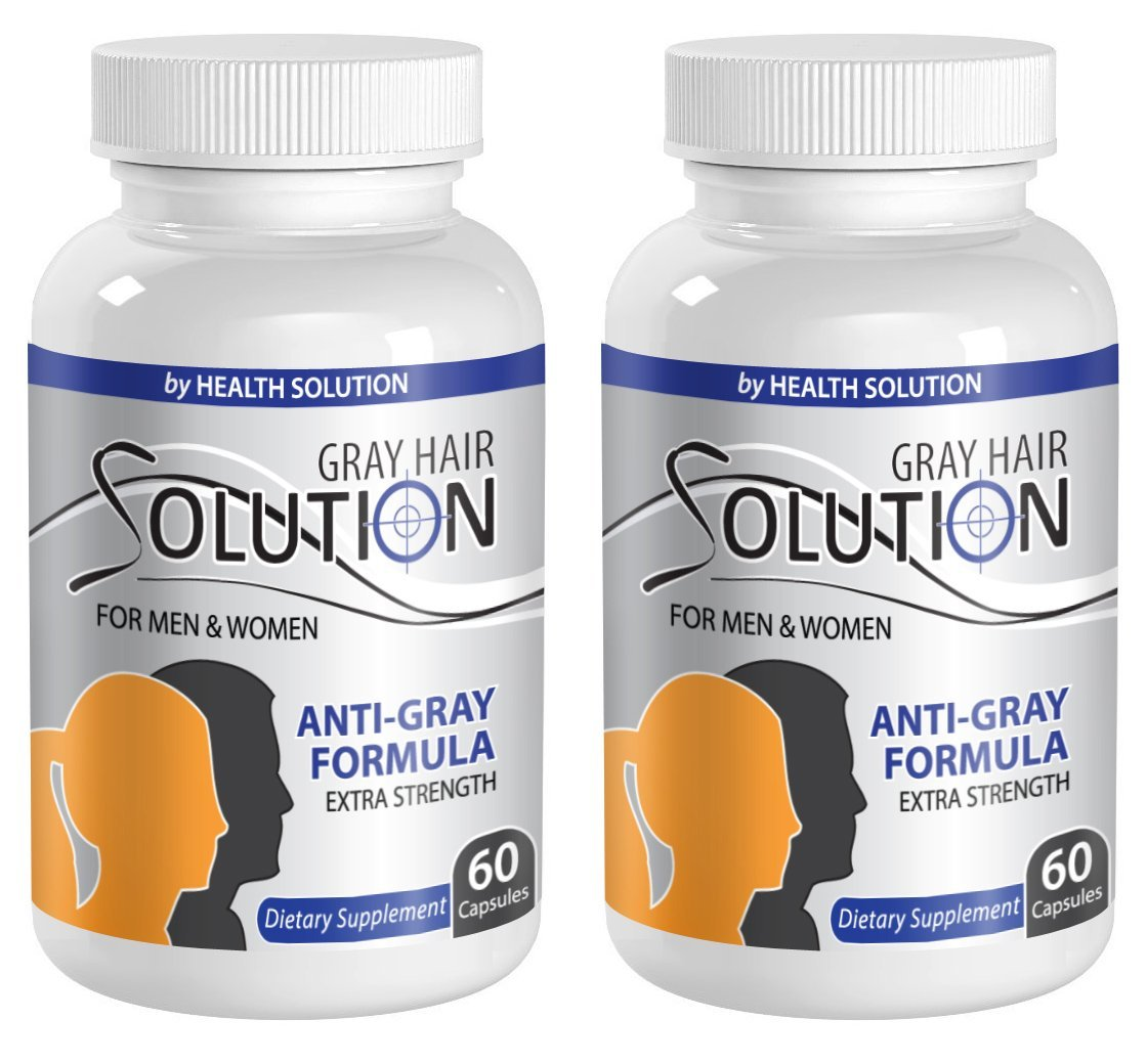 Catalase supplement - GRAY HAIR SOLUTION FOR MEN AND WOMEN - Anti gray hair pills (2 Bottles 120 Capsules) by Health Solution Prime