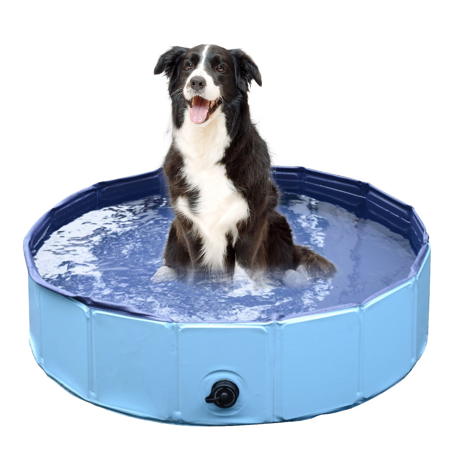 Jasonwell Foldable Dog Pet Bath Pool Collapsible Dog Pet Pool Bathing Tub Kiddie Pool for Dogs Cats and Kids (39.5inch.D x 11.8inch.H, Blue)