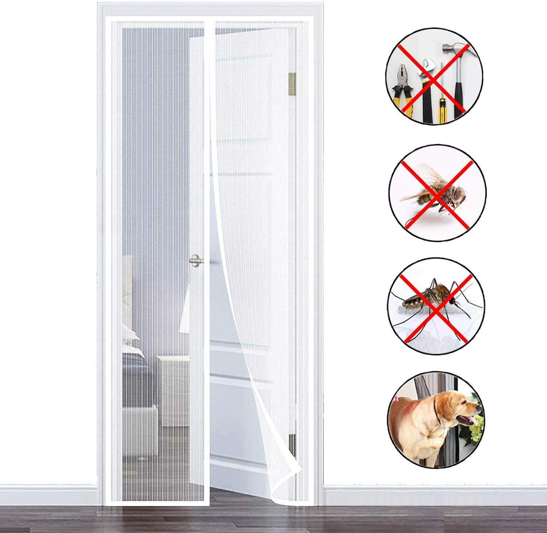 GOUDU Cortina Mosquitera Magnetica, Mosquiteras Enrollables con Durable Mantiene los Mosquitos de Insectos Fuera, para Puertas Correderas - Blanco 100x210cm(39x82inch)