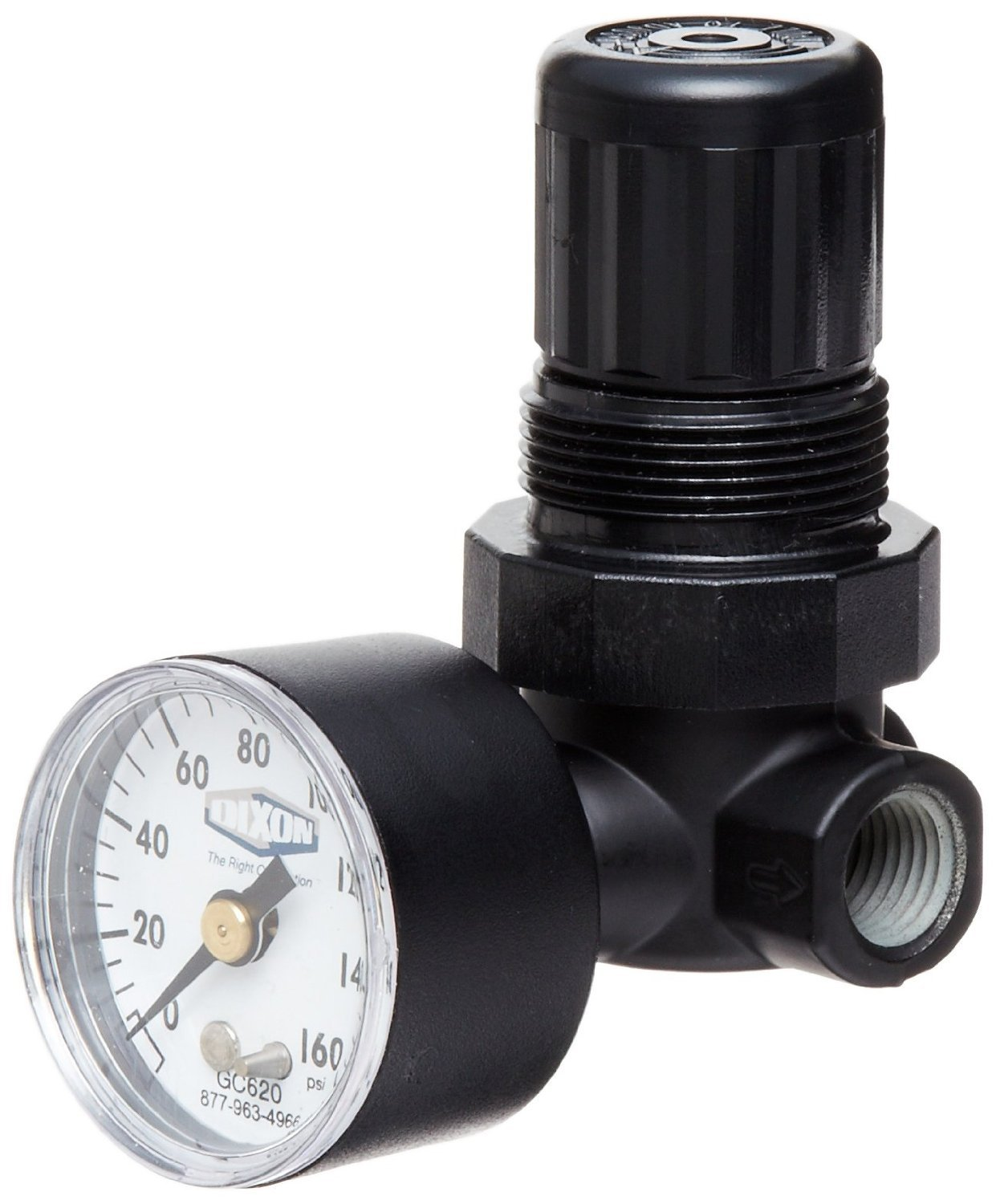 Dixon R07-200RG Norgren Series Miniature Regulator with Gauge, 22 SCFM, 1/4'' Port Size, 5-100 PSI by Dixon Valve & Coupling