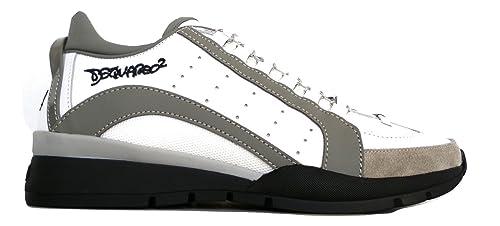 Dsquared Scarpe Pelle e Tessuto Uomo Sneaker W17SN404 1306 M182 Bianco  Grigio (41.5 EU - 5bae0cb0b26