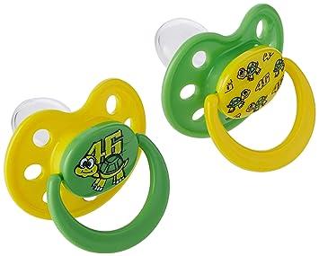 VR46 Valentino Rossi Oficial para bebé Chupete Dos Set - amarillo/Verde