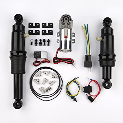 XFMT Adjustable Rear Air Ride Suspension Kit Compatible with Harley Davidson Harley Touring Bagger Electra Street