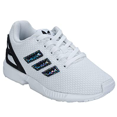 07f65edaa7a41 adidas Girls Originals Children Girls ZX Flux Metallic Snake Trainers in  White - 10 Child