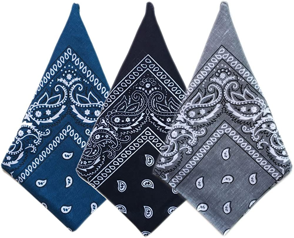 Vococal - 3 Piezas Multifuncional Bandana/Bufanda cuadrada/Cinta de algodón/Hip Hop Headwrap para Hombres y Mujer Al aire Libre Deporte (Estilo B): Amazon.es: Ropa y accesorios