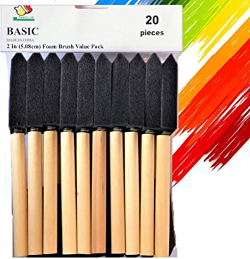 2 Inch Pack of 40 Foam Paint Brush Set Great for Acrylics Varnishes Crafts Art Stains Value Pack