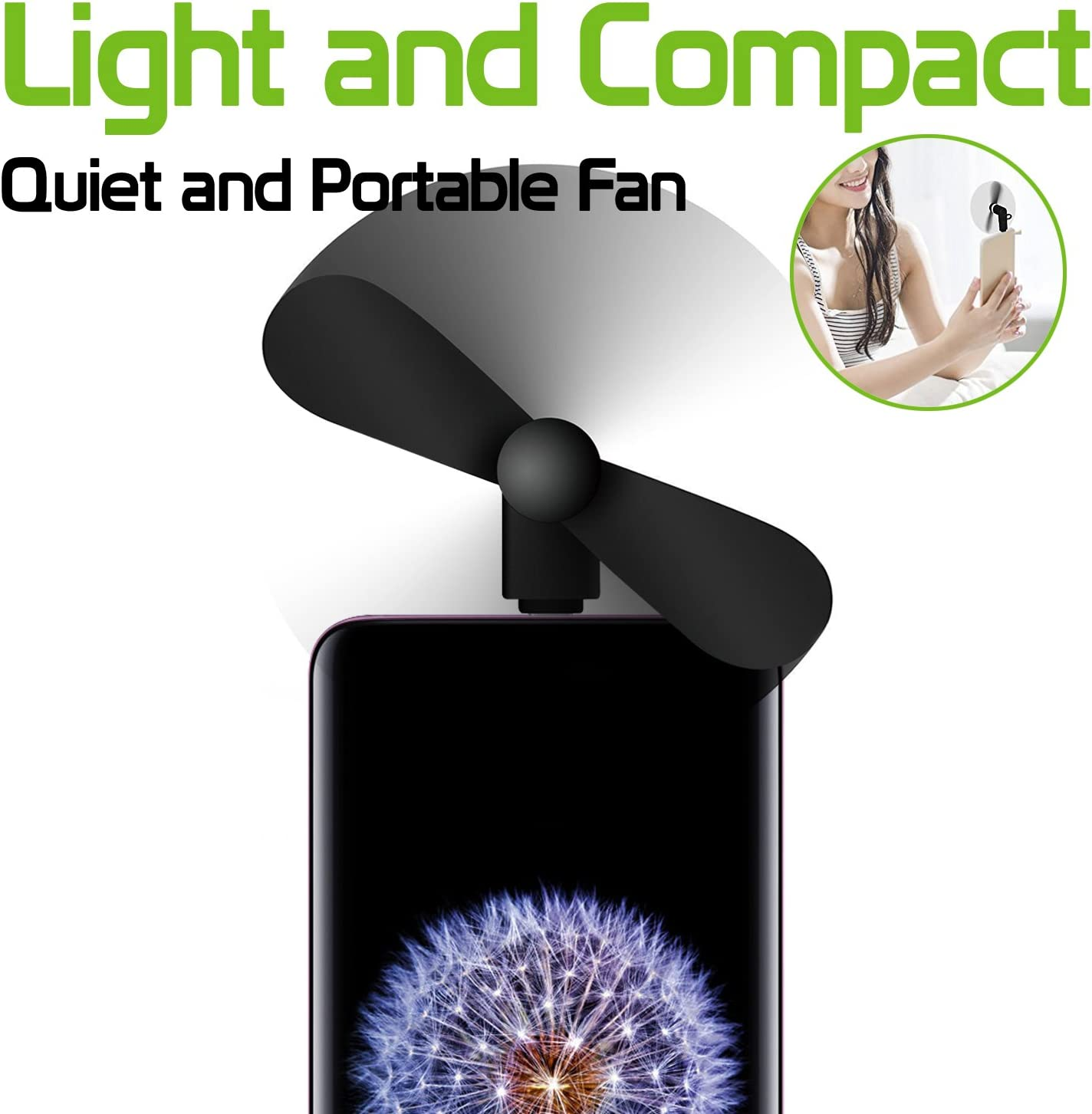 Black S8//S8 Plus Galaxy Note 8 and More USB C Enabled Devices Portable Mini USB Fan for Samsung Galaxy S9//S9 Plus