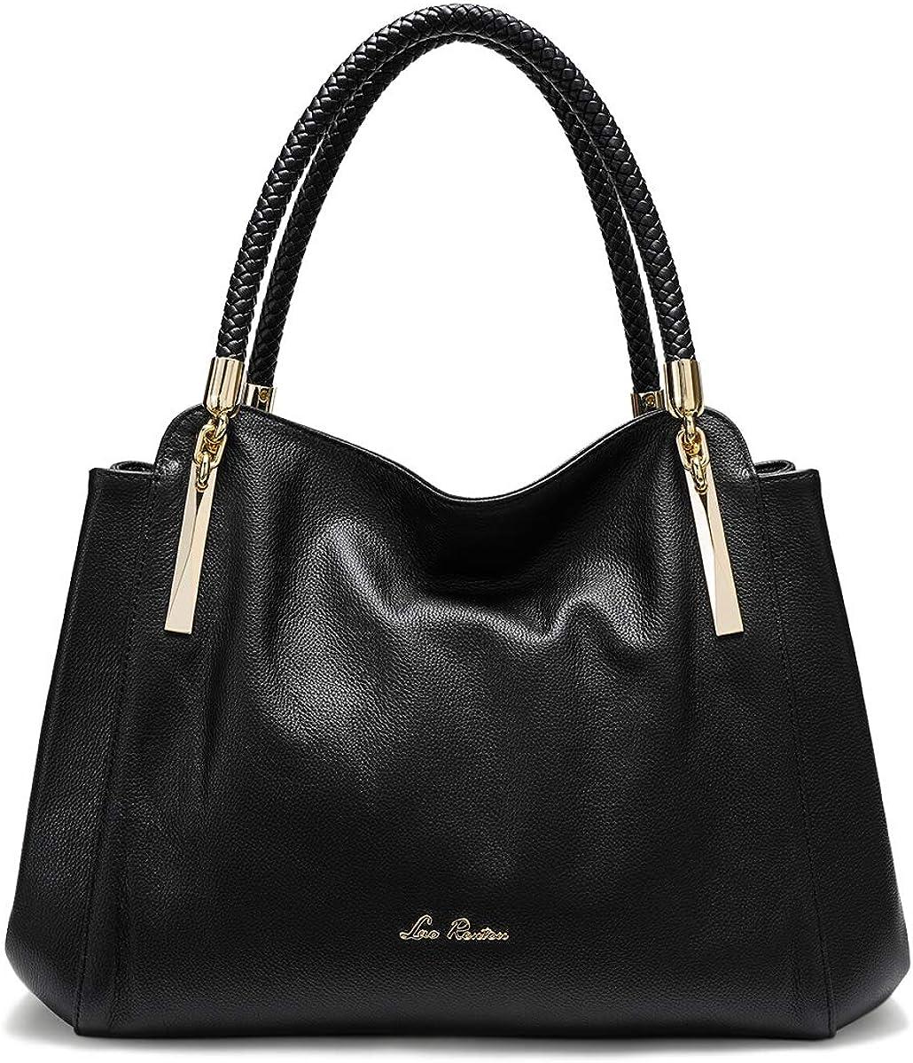 LAORENTOU Genuine Cow Leather Handbags for Women Ladies Top-handle Tote Purse Shoulder Bags