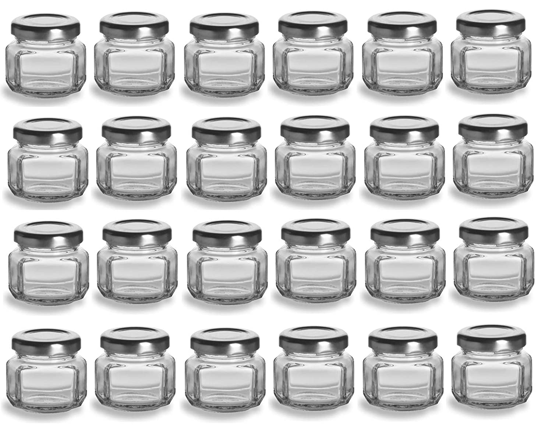 907c7b0bbf6c Nakpunar 24 pcs 1.5 oz Oval Hexagon Glass Jars with Silver Lids - 45ml