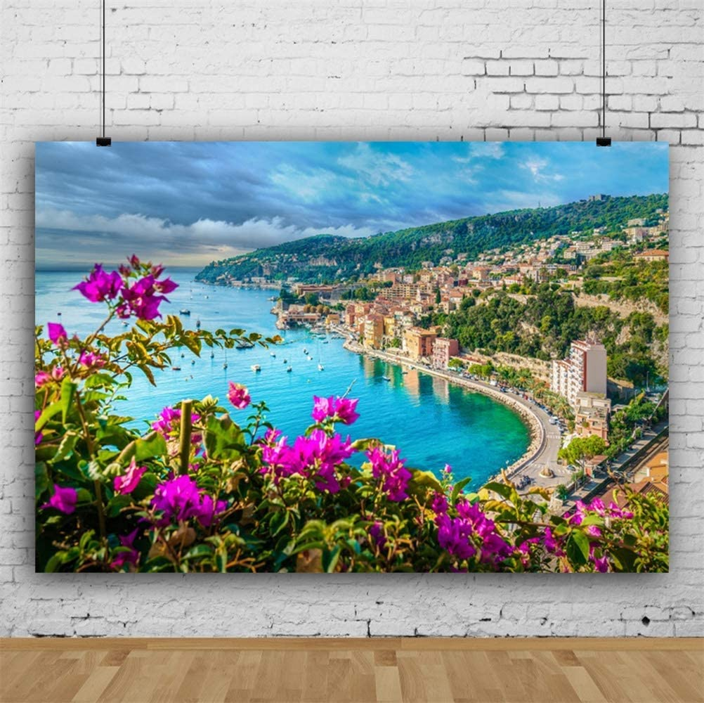 8x6.5ft Coastal Town Spring Landscape Background Vinyl Beautiful Bougainvillea Flowers Sea Cloudy Sky Mountain Scenery Backdrop Travel Theme Wedding Photo Studio French Riviera Coast