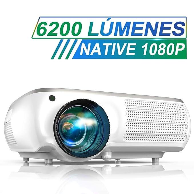 Proyector, TOPTRO 6200 Lúmenes Proyector Cine en Casa Full HD 1080P Nativo 1920x1080 Píxeles Proyectores HD Soporta Video 4K, Corrección Trapezoidal 4D, Fonction Zoom X/Y ±50°, para Presentación PPT