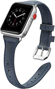 Secbolt Leather Compatible with Apple Watch Band 42mm 44mm Slim Replacement Wristband Sport Strap for Iwatch Series 6 5 4 3 2 1 Stainless Steel Buckle, Navy Blue
